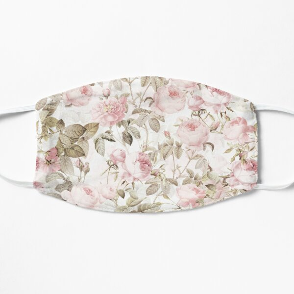 Sepia Old Vintage Roses on Pink Pattern Flat Mask