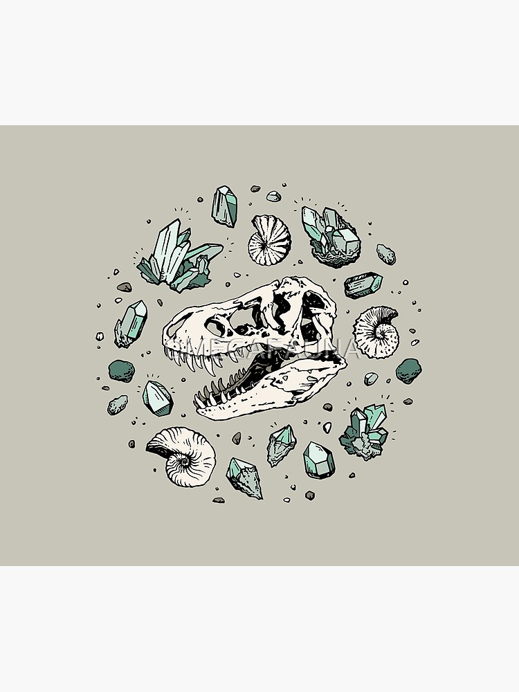 Geo-rex Vortex   Aquamarine   Dinosaur Skull Fossil Art by OMEGAFAUNA