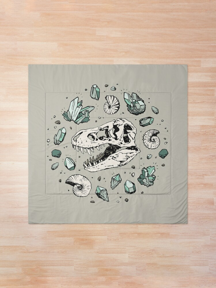 Alternate view of Geo-rex Vortex   Aquamarine   Dinosaur Skull Fossil Art Comforter
