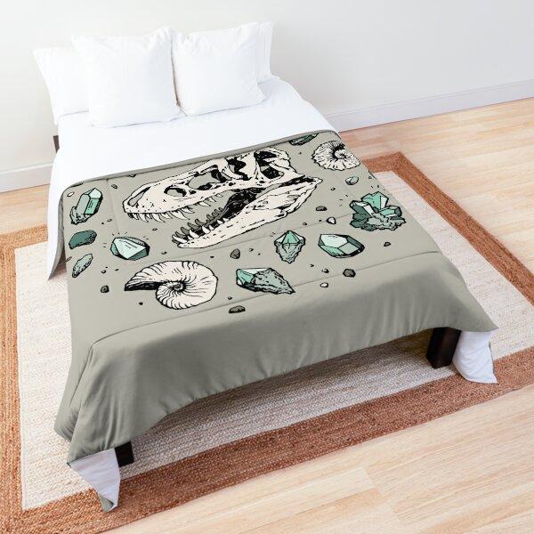 Geo-rex Vortex | Aquamarine | Dinosaur Skull Fossil Art Comforter
