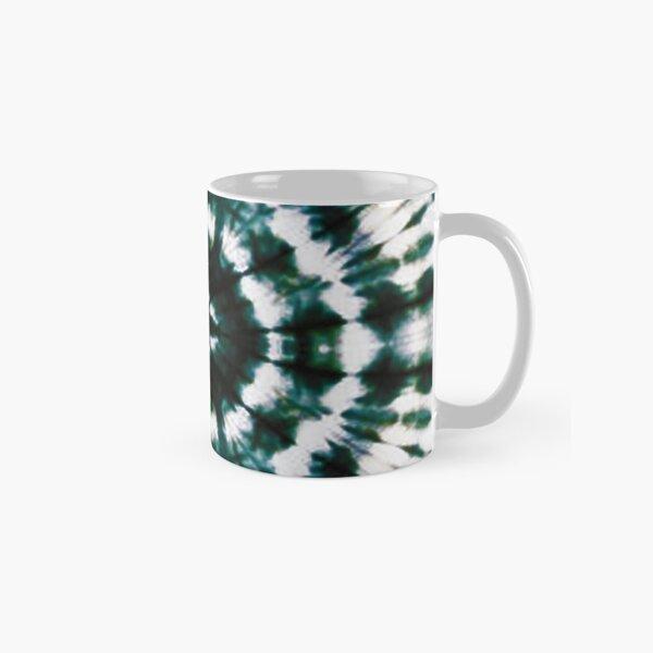 Green and White Stripe Batik Tie and Dye Print Classic Mug
