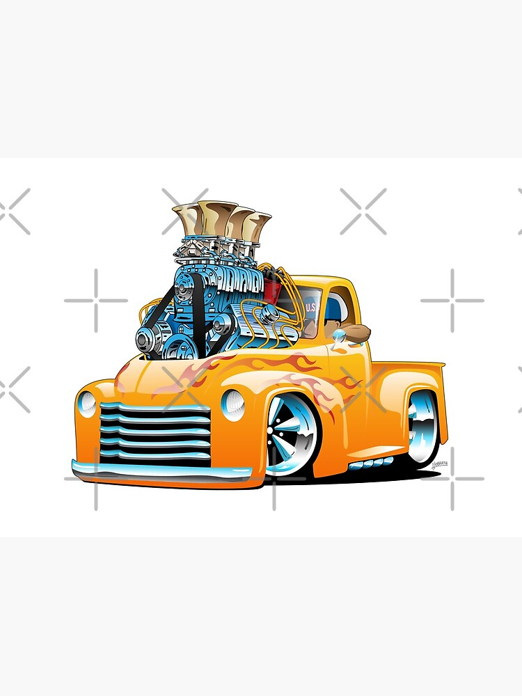 American Classic Hot Rod Pickup Truck Cartoon by hobrath