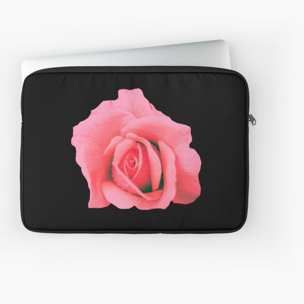 Peach Pink Rose on Black Photography, Flower Photography Laptop Sleeve