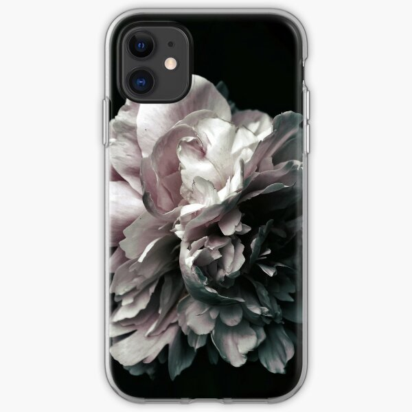 White  and Black with Pink Tones Peony Photography, Nature iPhone Soft Case