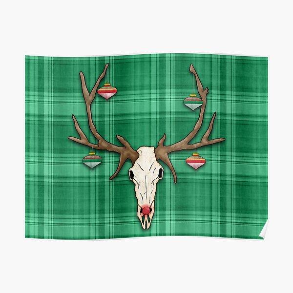Reindeer Skull on Green Plaid Christmas Design Poster