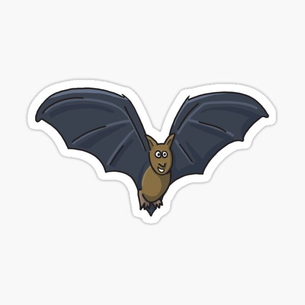 A happy bat flying in a purple cave Sticker