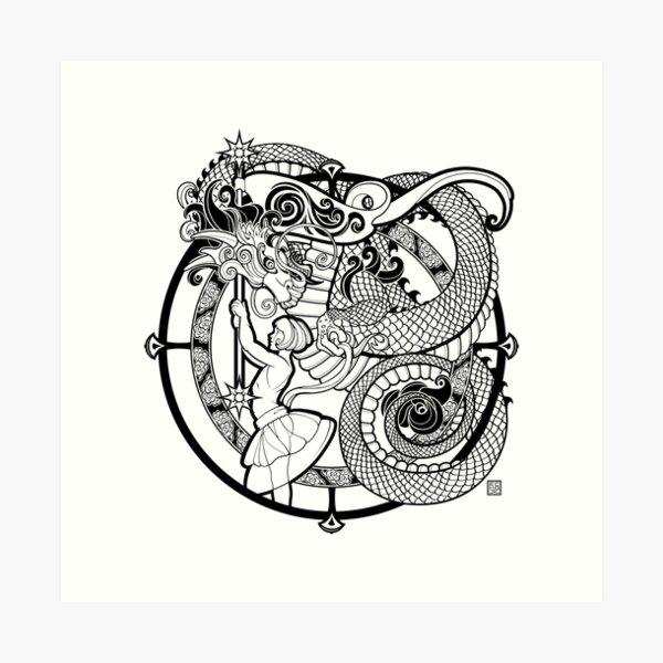 The Girl with the Dragon Kite Art Print