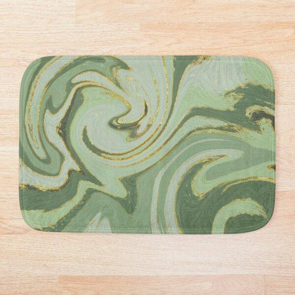 Green Marble Swirl Pattern Design Modern Waves Bath Mat