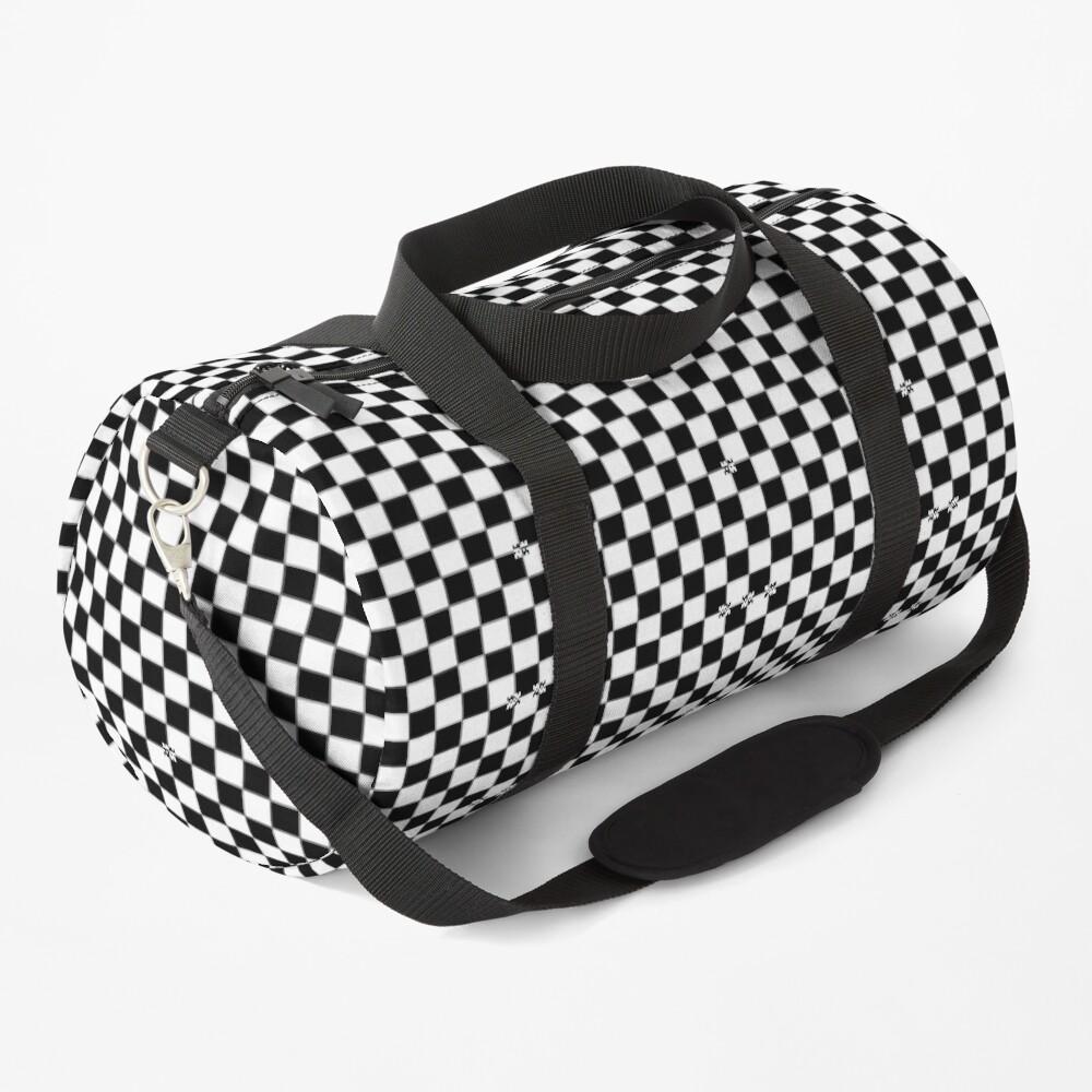 Black and White Checkered Ska Racing Backpack Duffle Bag