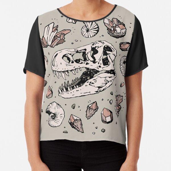 Geo-rex Vortex | Rose Quartz | Dinosaur Skull Fossil Art Chiffon Top