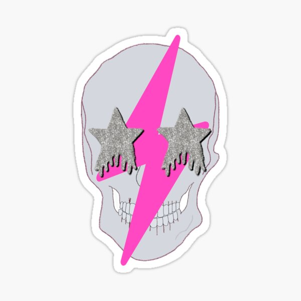 pink lightning bolt glittery star eyed skull Sticker
