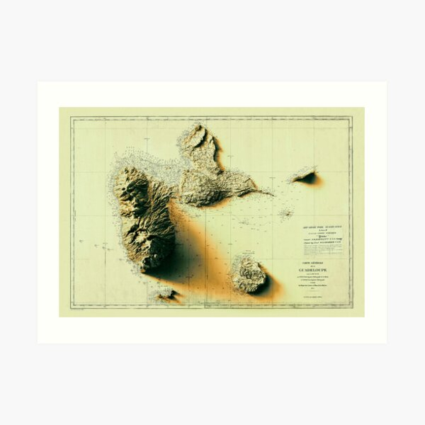 1879 Sunset Guadeloupe Relief Map 3D digitally-rendered Art Print