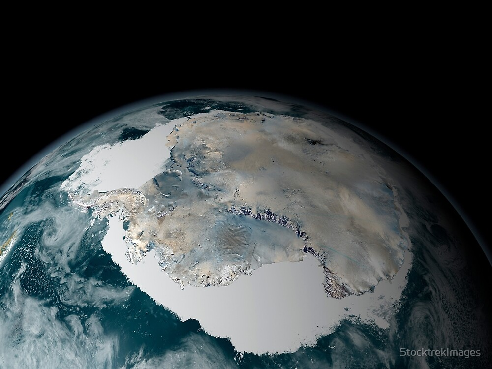 The frozen continent of Antarctica and its surrounding sea ice. by StocktrekImages