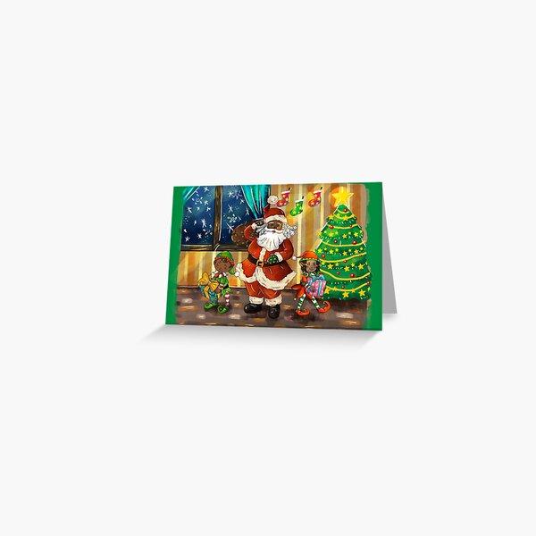 Christmas with Black Santa and Black Elves Greeting Card