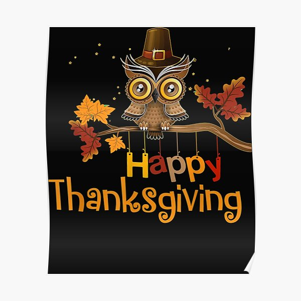 Happy Thanksgiving Pilgrim Owl Poster