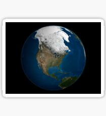A global view over North America with Arctic sea ice Sticker