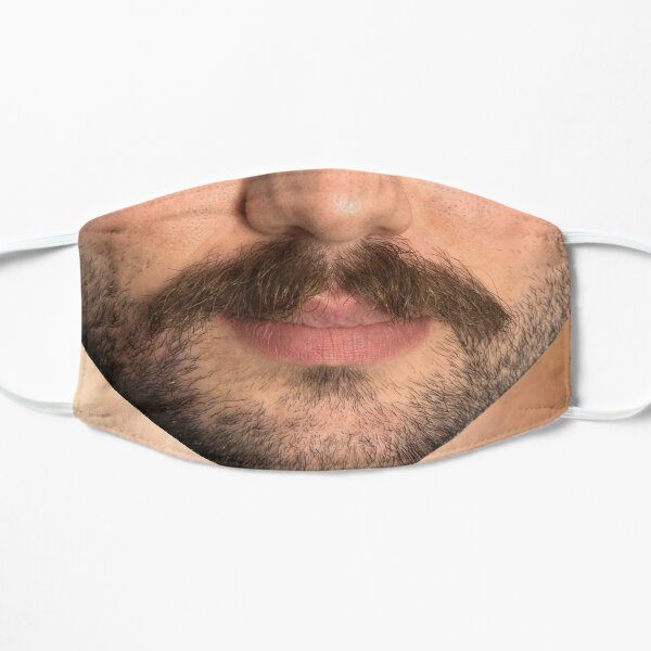 Black Moustache and Stubble Beard - Mask only Flat Mask