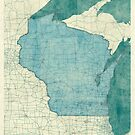 Wisconsin State Map Blue Vintage by HubertRoguski