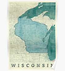 Wisconsin State Map Blue Vintage Poster