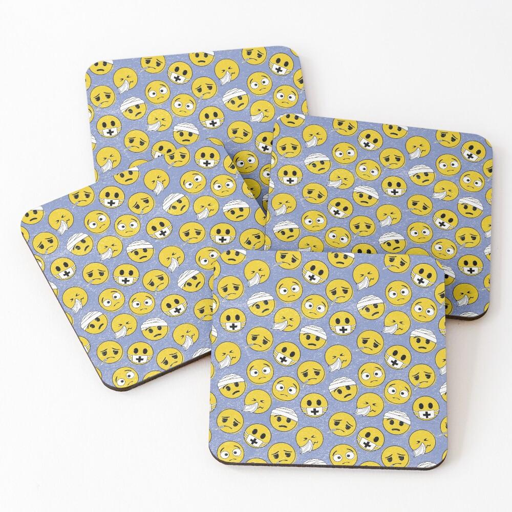 I need a doctor, emoji pattern Coasters (Set of 4)