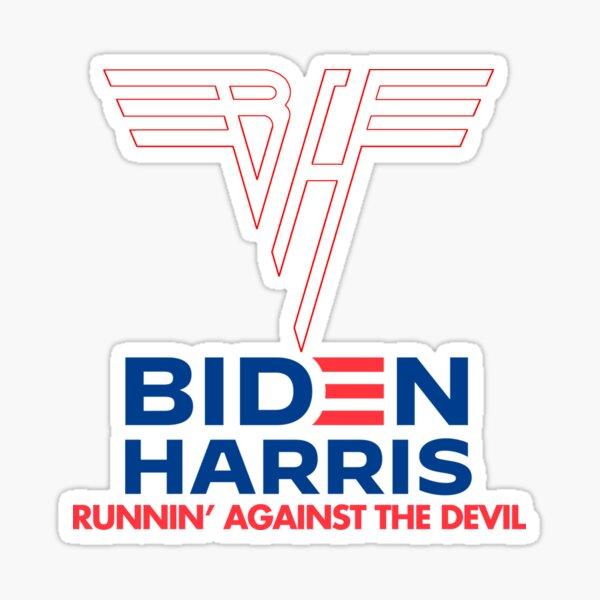Biden Harris   Gegen den Teufel rennen Sticker