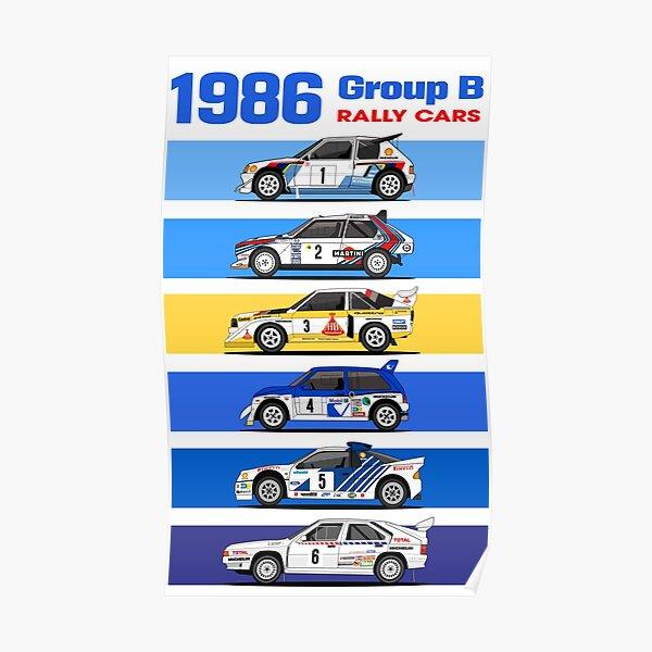 1986 voitures de rallye groupe B Poster