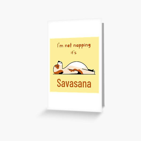 Dog yoga pose savasana Greeting Card