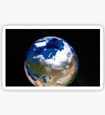 View of Earth showing the Arctic region. Sticker