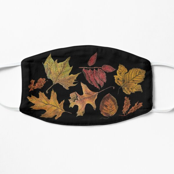 Watercolour autumn leaves on dark background Mask