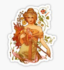 Mucha Floral Sticker