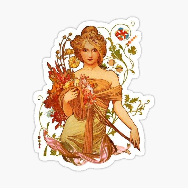 Mucha Floral Sticker