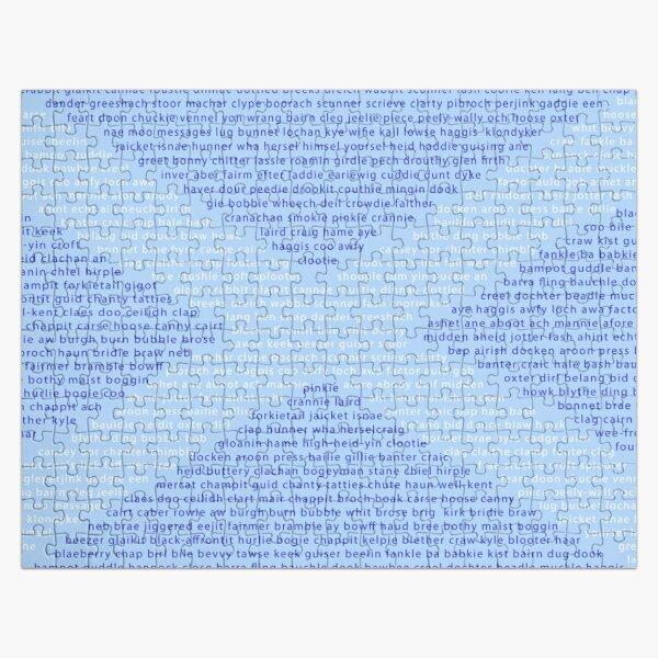 Scottish Words in a Saltire Jigsaw Puzzle