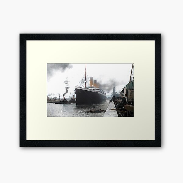 Titanic prepares to leave port, 1912 Framed Art Print