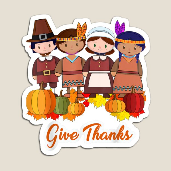 Thanksgiving Pilgrim Give Thanks Pumpkin Magnet
