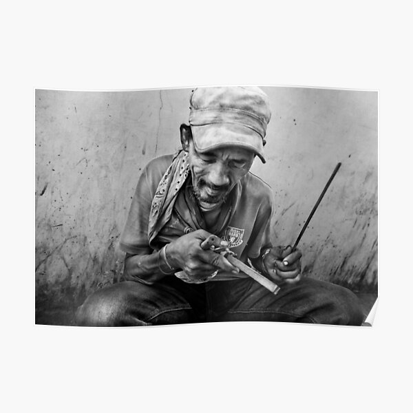 street musician (black and white candid portrait) Poster