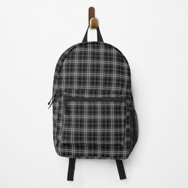 Black and White Tartan Check Check Pattern Backpack
