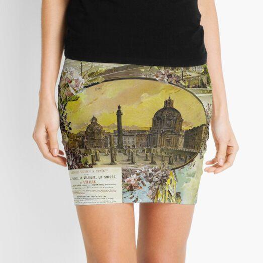 Italy France Vintage Railroad Travel Poster 1897 Mini Skirt