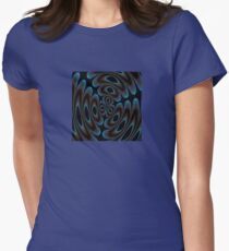 Blue and Brown Contemporary Abstract Womens Fitted T-Shirt