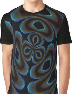 Blue and Brown Contemporary Abstract Graphic T-Shirt