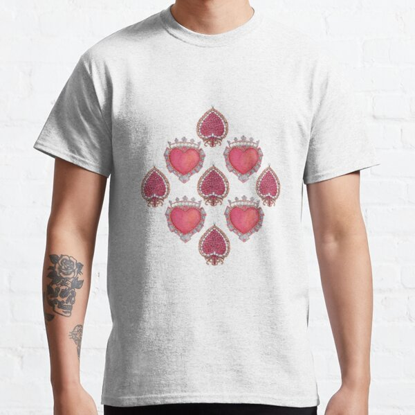 Vintage jewelry in the shape of a heart. Watercolor pattern with precious brooches with rubies, pearls and diamonds. Classic T-Shirt