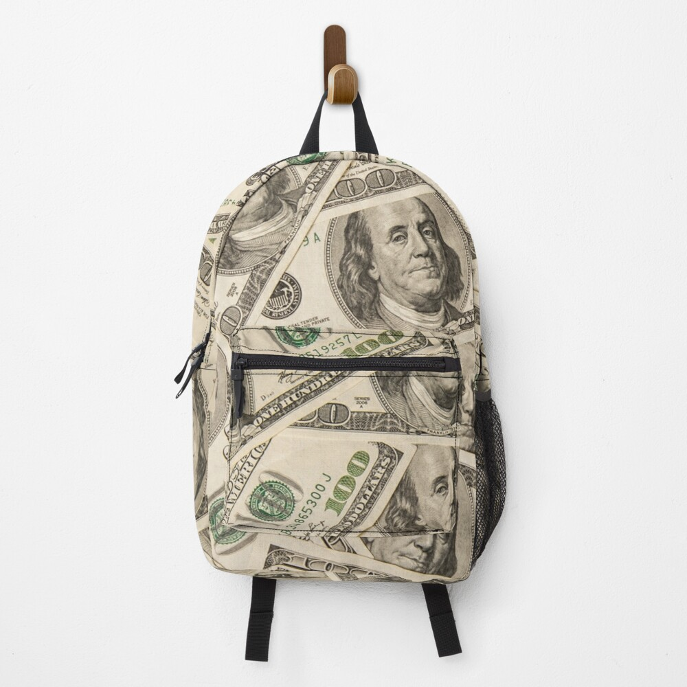 One hundred dollar bills American currency bank notes Backpack