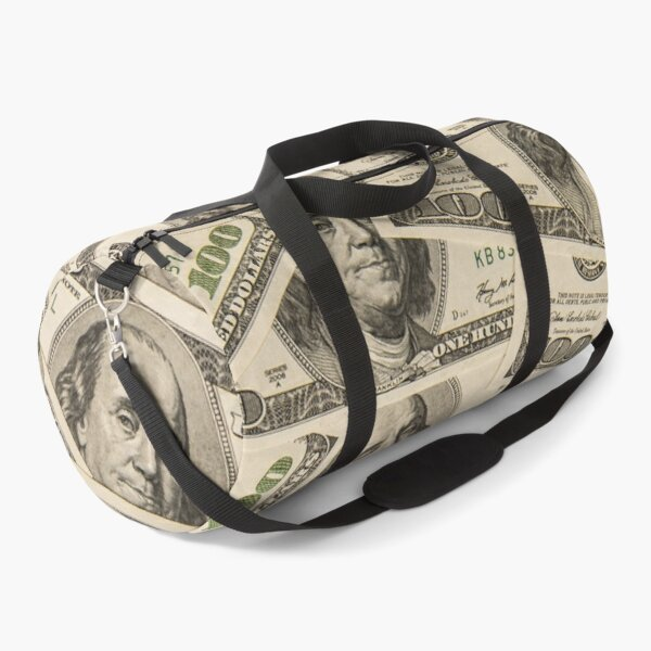 One hundred dollar bills American currency bank notes Duffle Bag