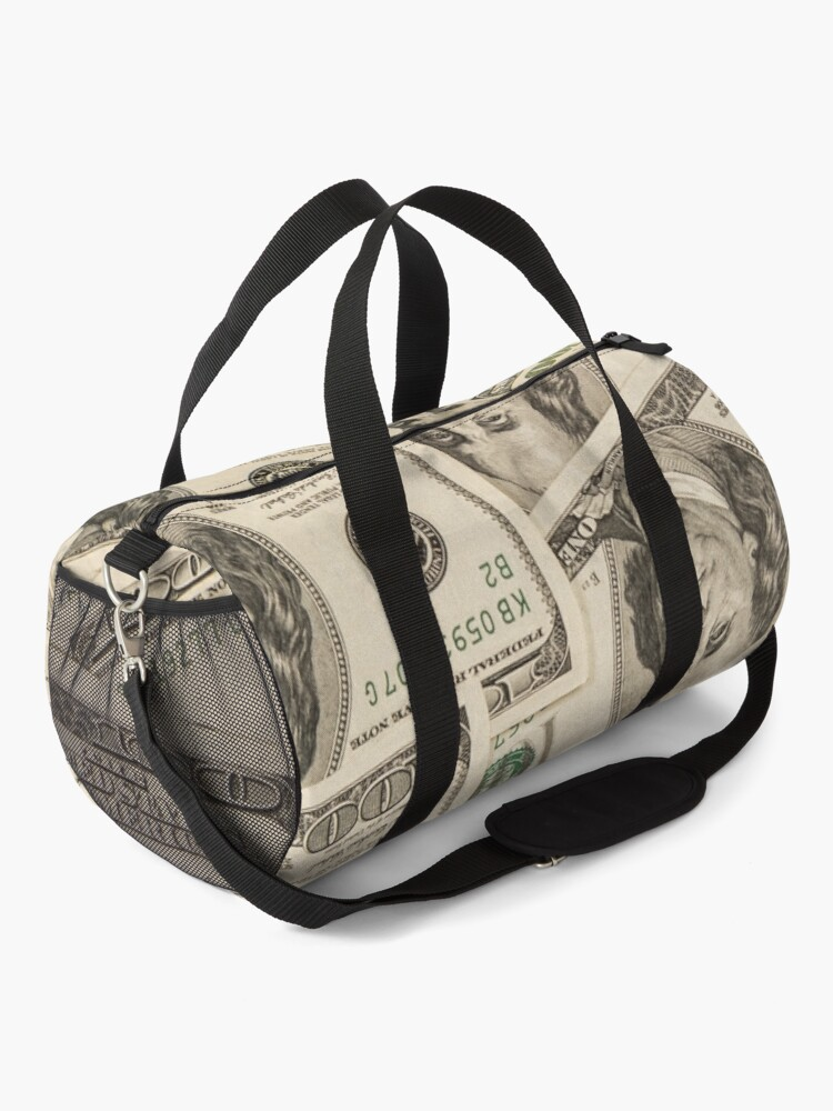 Alternate view of One hundred dollar bills American currency bank notes Duffle Bag