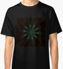 Contemporary Teal Floral on Black Classic T-Shirt