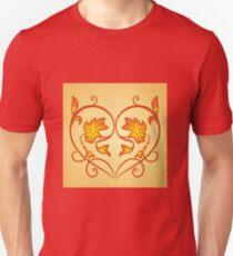 Orange Burning Heart Flower Design T-Shirt
