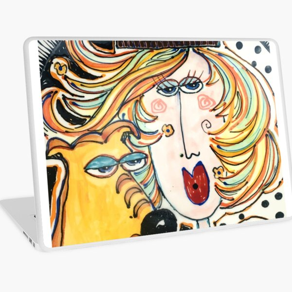 Girl and her dog Laptop Skin