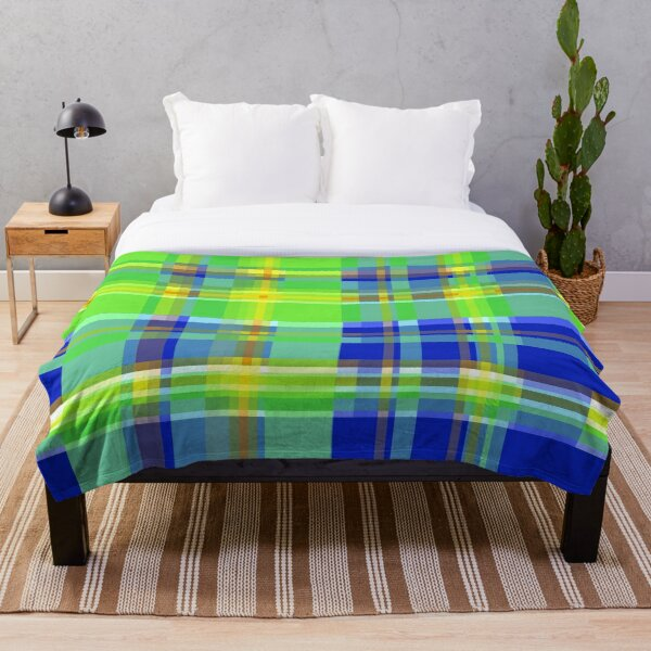 Striped 2X Blue and Green Throw Blanket