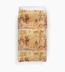 Heart And Its Blood Vessels, Leonardo Da Vinci Anatomy Drawings, Brown Duvet Cover