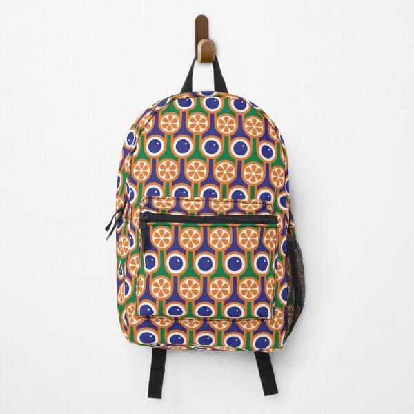 Scandi Midcentury Modern Retro Geometric Blueberries Oranges Pattern Backpack