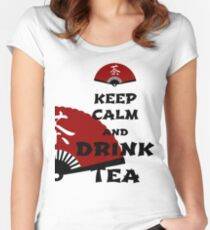 keep calm and drink tea - asia edition Women's Fitted Scoop T-Shirt